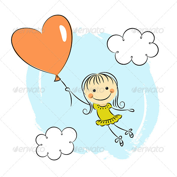 GraphicRiver Little Girl with Heart Balloon 5084864