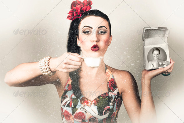 Retro pin up poster girl. Wash and clean service - Stock Photo - Images