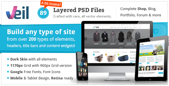 ThemeForest Veil Uber Premium Multipurpose PSD Theme w Shop 5085427
