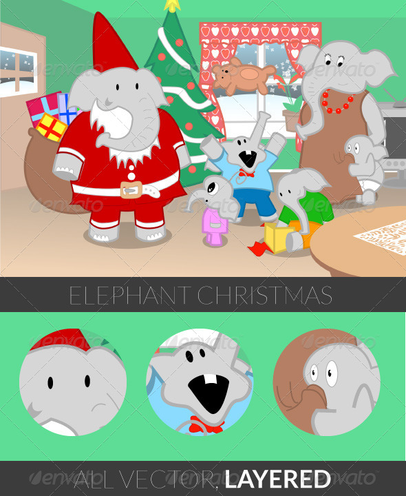 GraphicRiver Elephant Christmas 5085485
