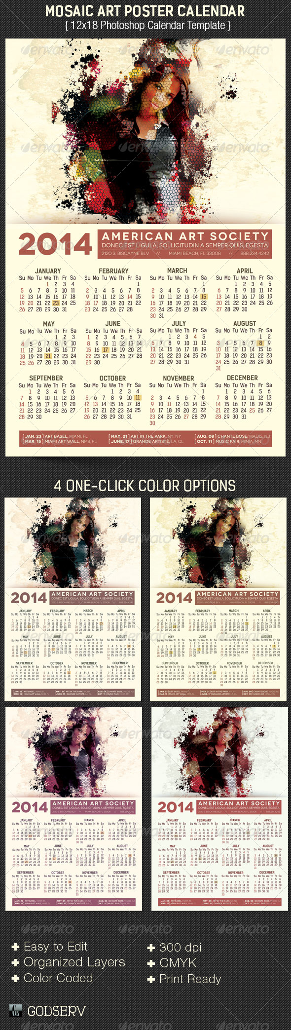 GraphicRiver Mosaic Art Poster Calendar Template 5086574