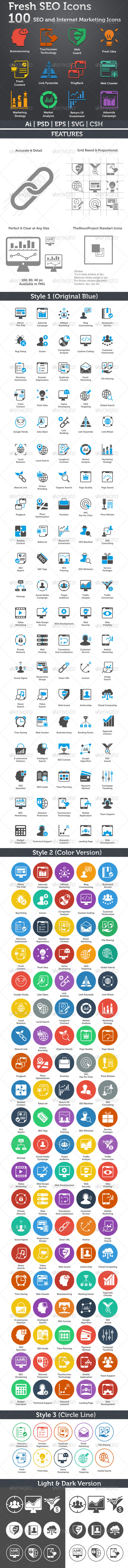 GraphicRiver Fresh SEO Icons SEO and Internet Marketing Icons 5049345