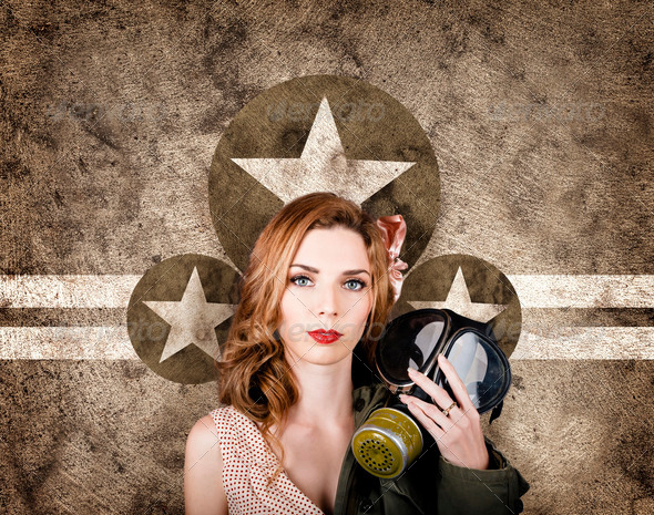 Fifties army pin up woman. Remembrance day - Stock Photo - Images