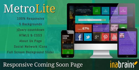 MetroLite - Responsive Coming Soon Template (Under Construction)