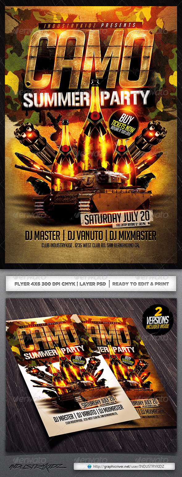 Camo Party Flyer Template - Clubs & Parties Events