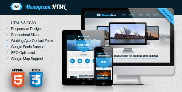 ThemeForest Monogram Responsive HTML5 Template 5085948