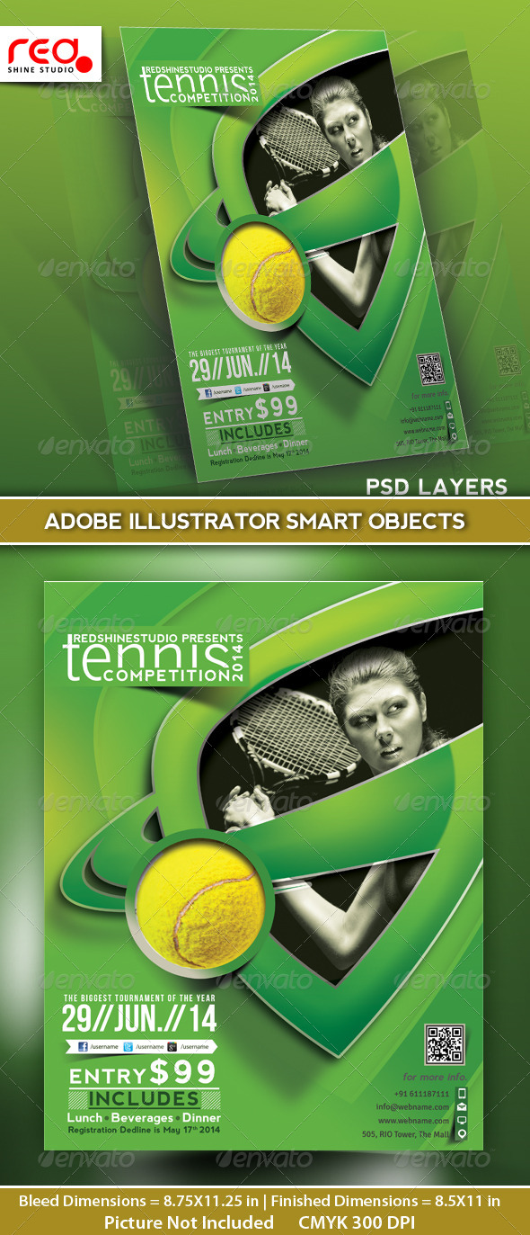 GraphicRiver Tennis Competition Flyer Poster Magazine Template 5088513
