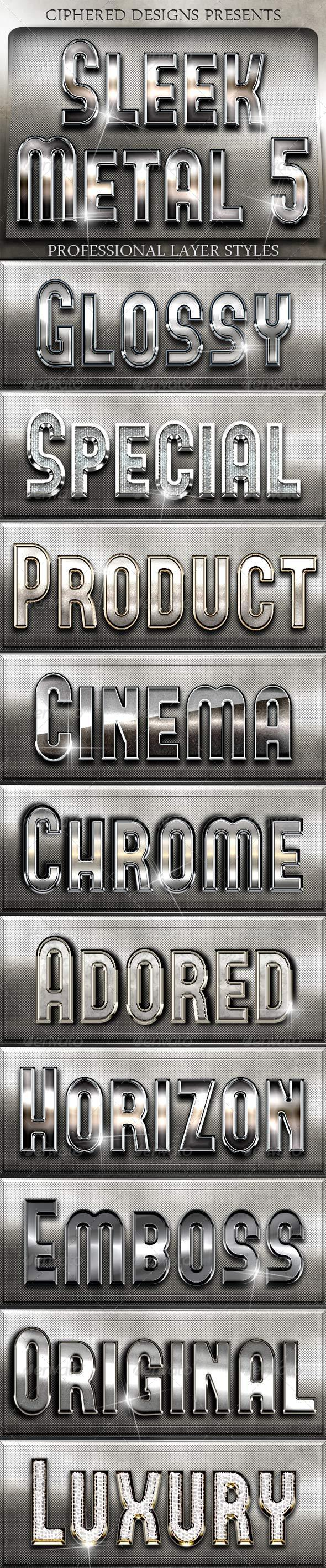 GraphicRiver Sleek Metal 5 Professional Layer Styles 5088784