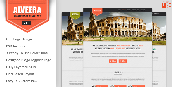 Alveera - Responsive HTML5 Single Page Template - This is the preview for the file.