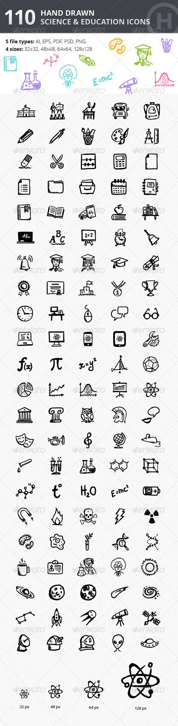 GraphicRiver 110 Hand-drawn Science & Education Icons 5089439