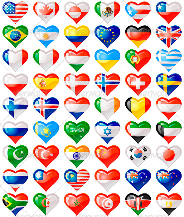 GraphicRiver Flags Hearts 5091768