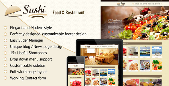 Sushi – Fully Responsive shopify theme suitable to promote Restaurant, hotel and food deals, restaurant packages, food combos, fashion/trendy products. Gi