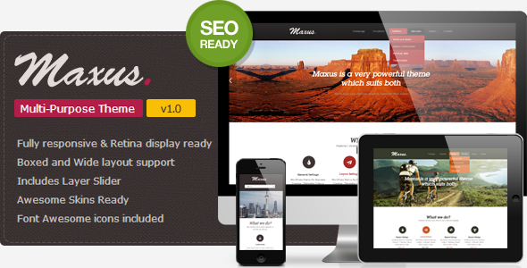 Maxus- A Simple & Clean WordPress Theme  - The theme preview image.