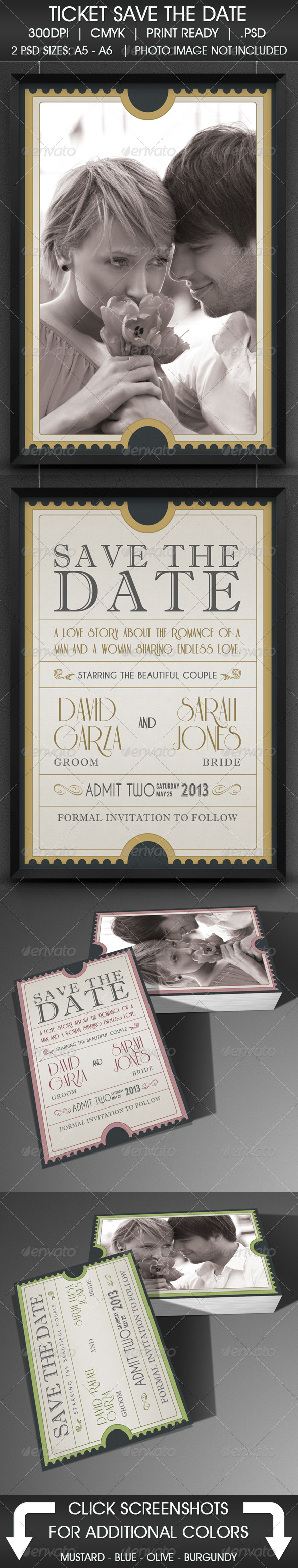 Admission Ticket Save The Date - Cards & Invites Print Templates