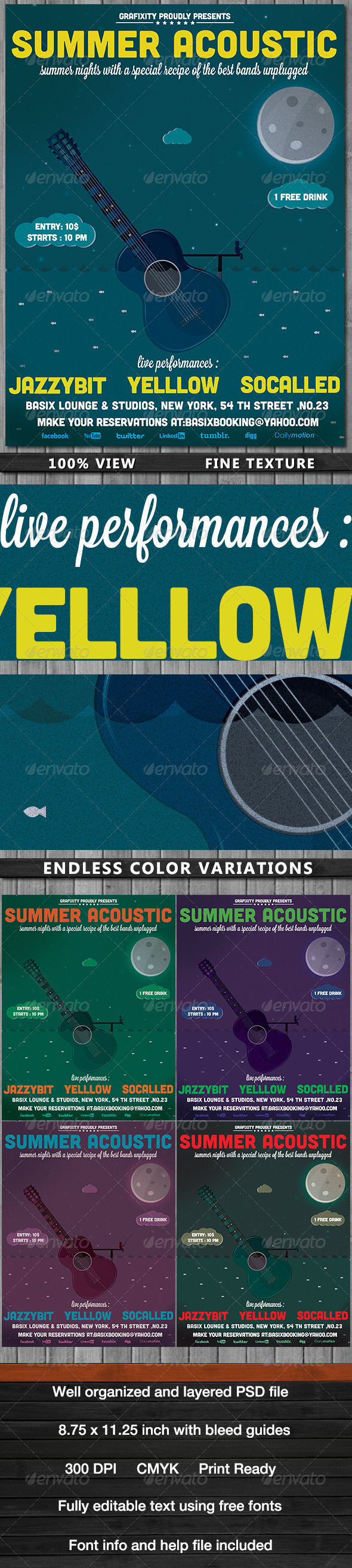 GraphicRiver SummerNights Acoustic Poster Flyer 5092215