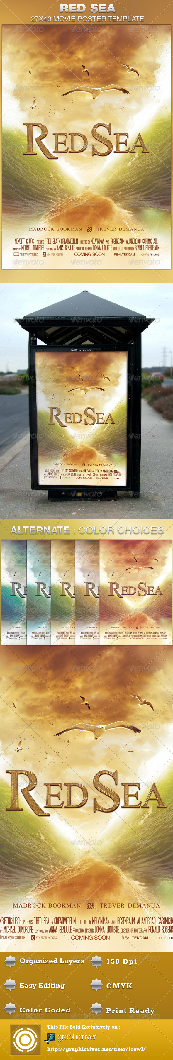 Red Sea Movie Poster Template - Church Flyers