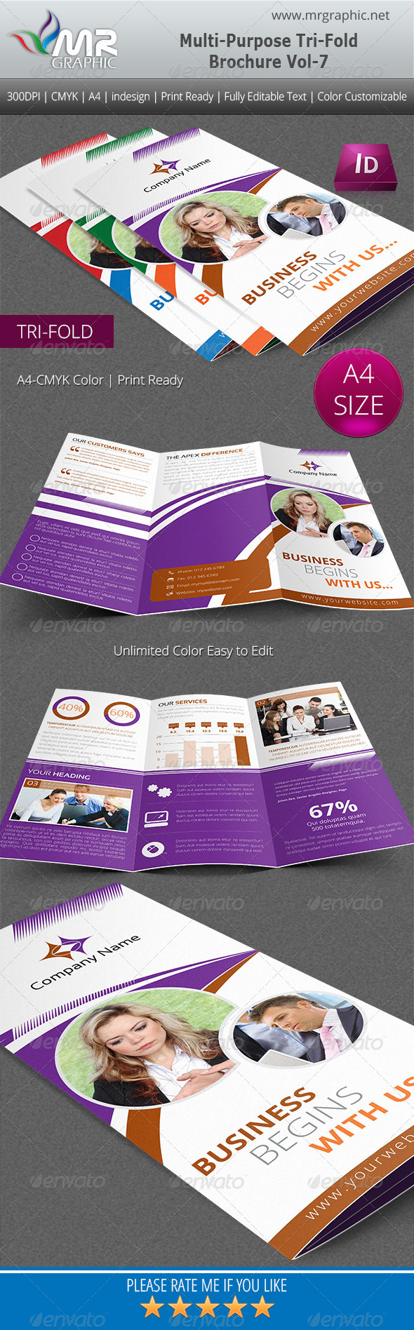 GraphicRiver Multipurpose Business Tri-Fold Brochure Vol-07 5092278