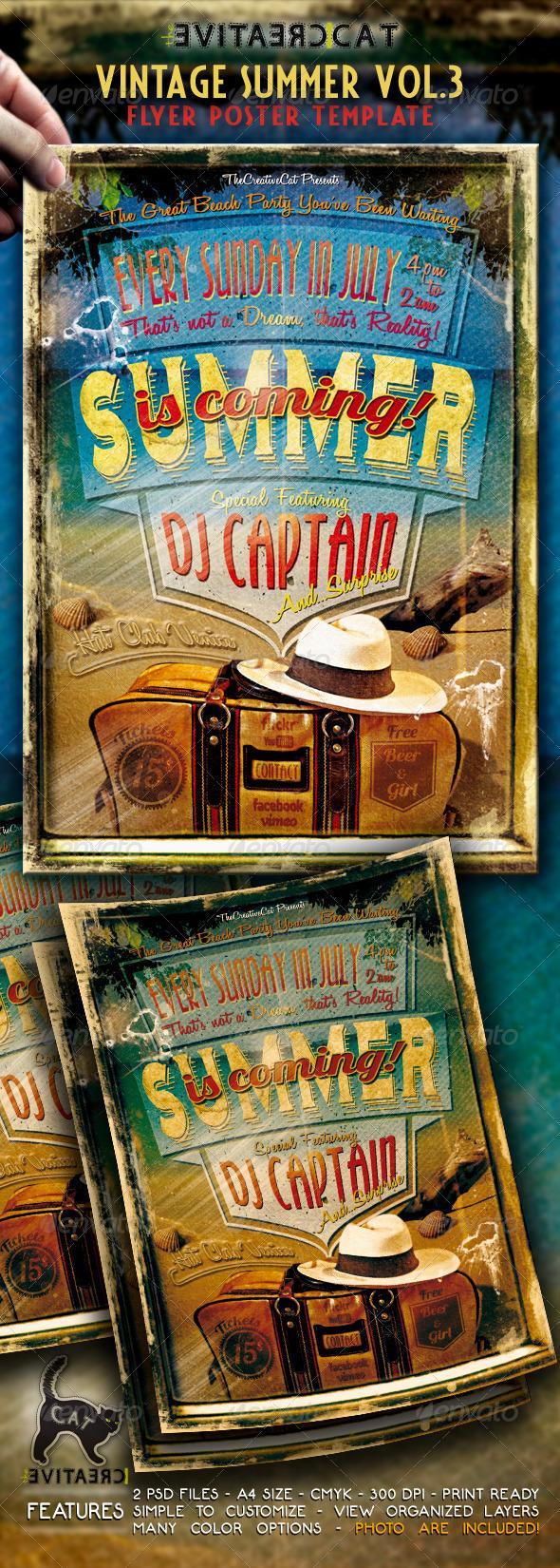 Vintage Summer Flyer/Poster Vol.3 - Events Flyers