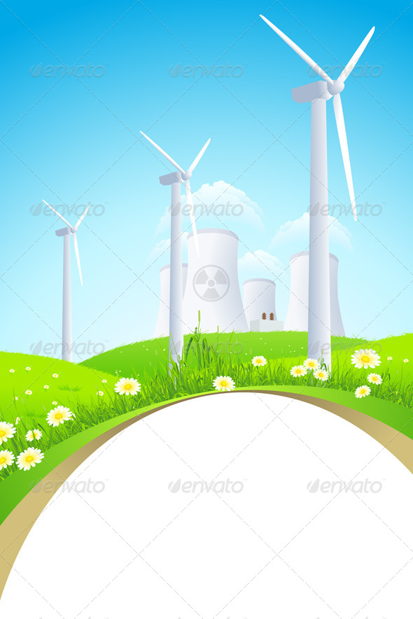GraphicRiver Green Landscape with Windmills and Nuclear Power P 5092945