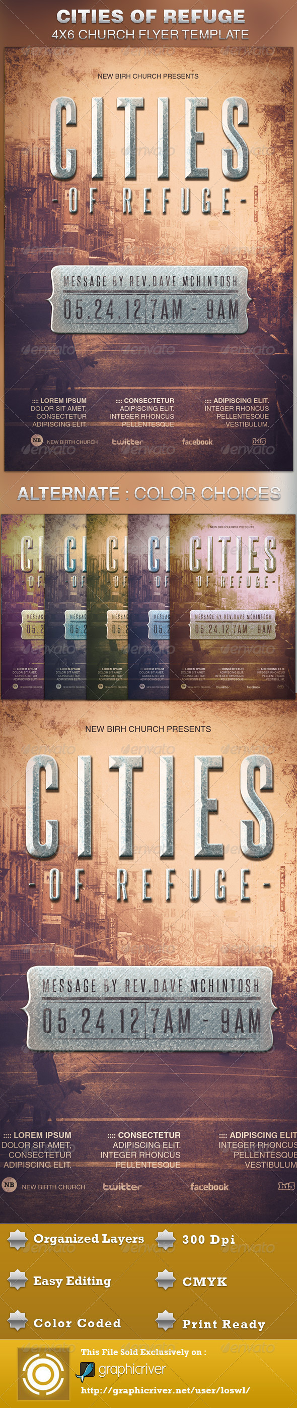 GraphicRiver Cities of Refuge Church Flyer Template 5093189