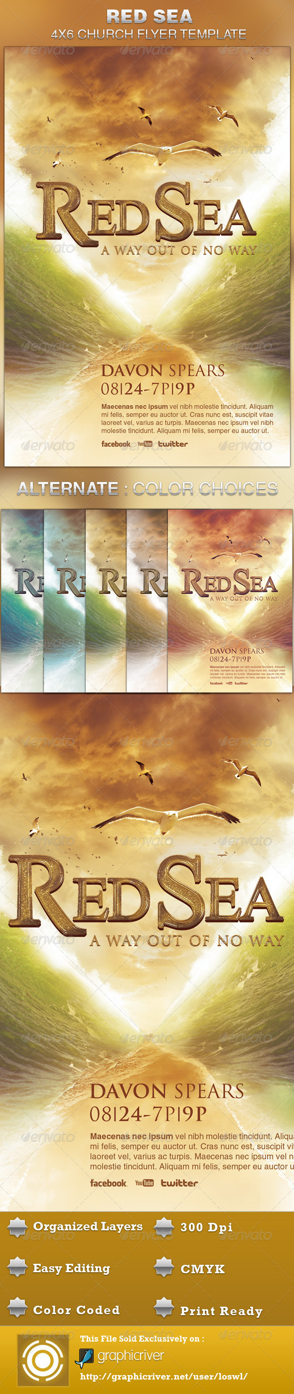 Red Sea Church Flyer Template - Church Flyers