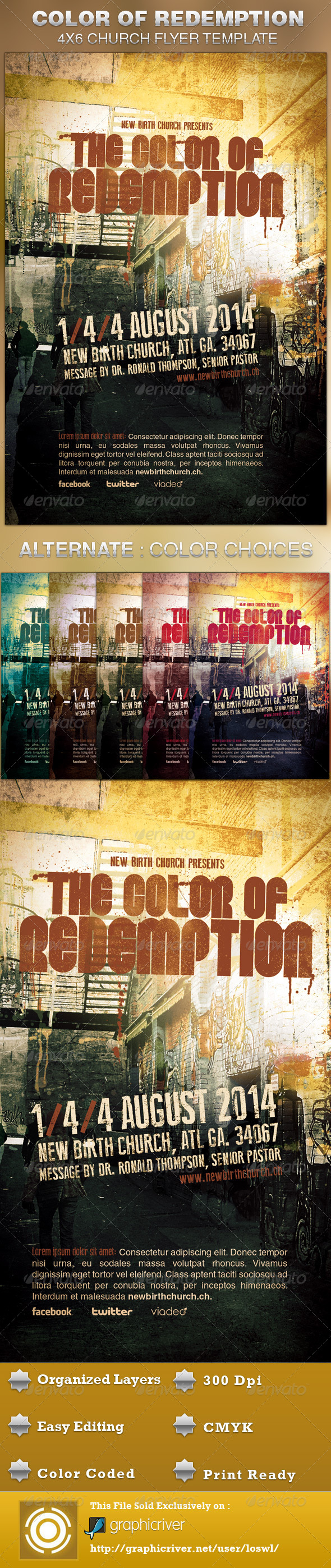 The Color of Redemption Church Flyer Template - Church Flyers