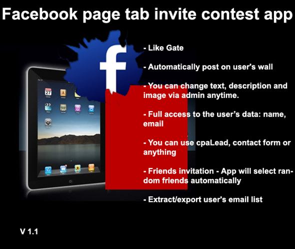 Cool Facebookpagina tabblad uitnodigt contest app - WorldWideScripts.net Item te koop