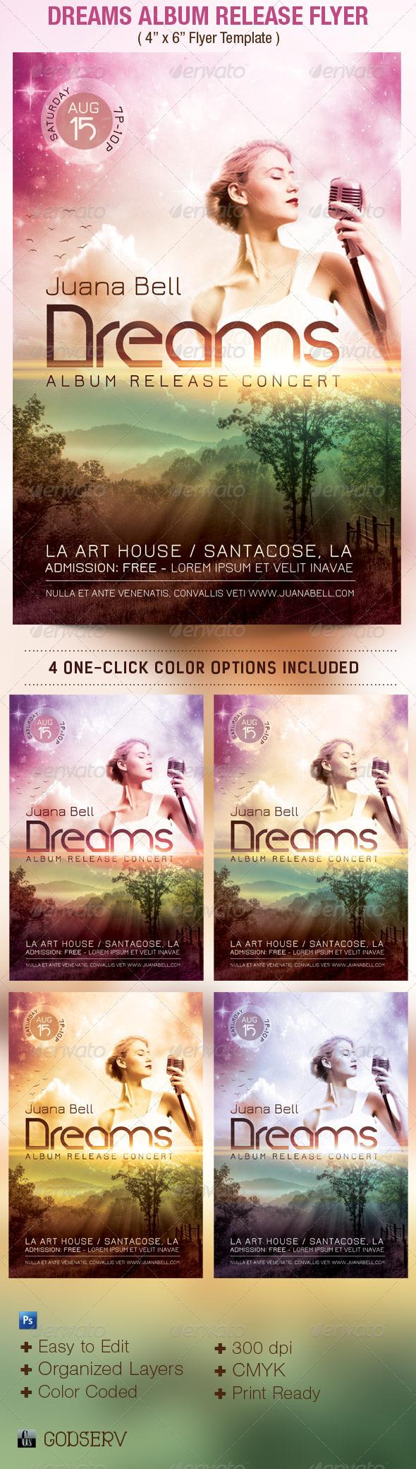 Dreams Album Release Flyer Template - Concerts Events