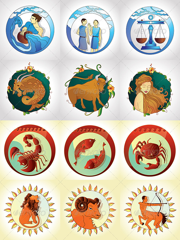 GraphicRiver Zodiac Signs Designs Pack 5094883
