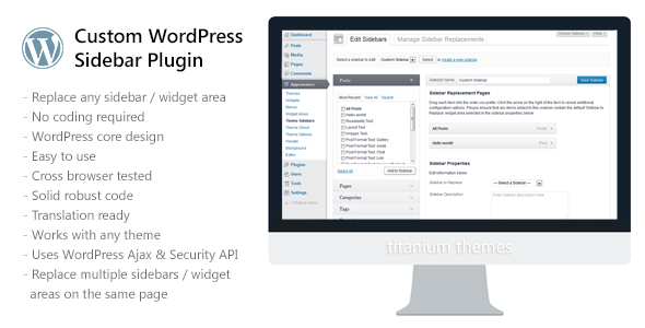 Custom WordPress Sidebar Plugin - WorldWideScripts.net Tuote myytävänä