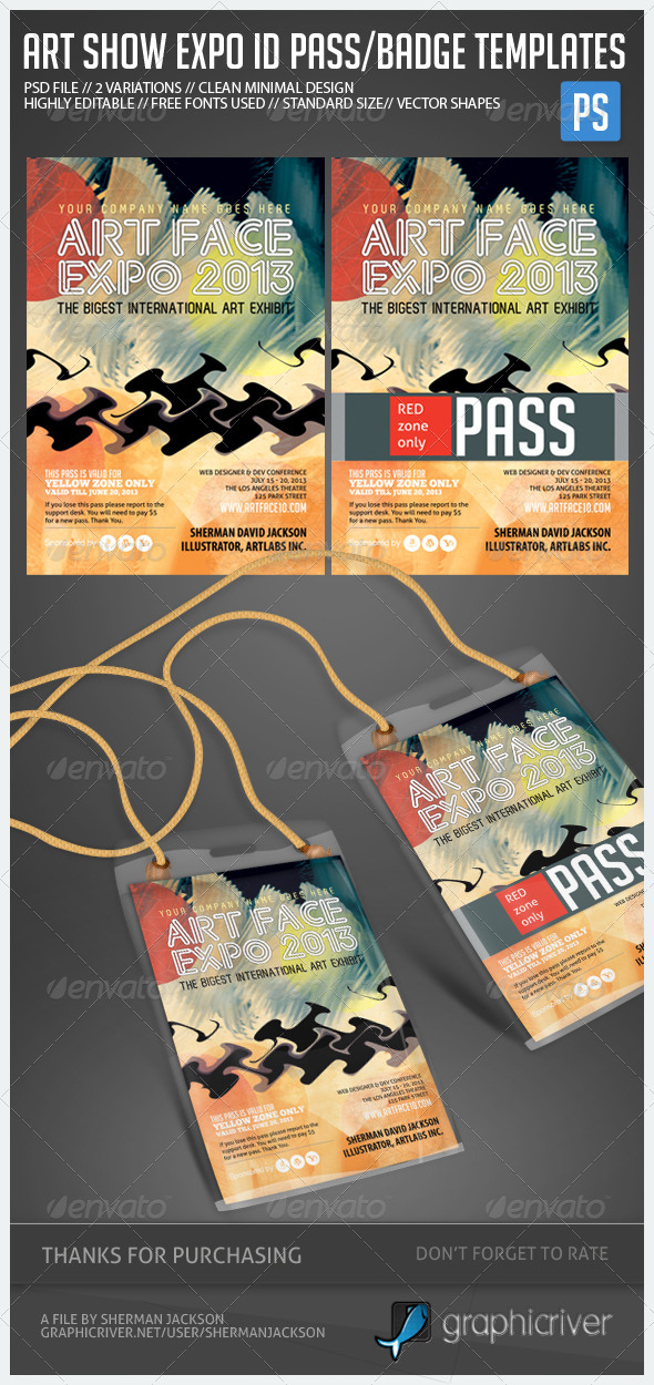 Art Expo, Art Show ID Pass/Badge Templates - Miscellaneous Print Templates
