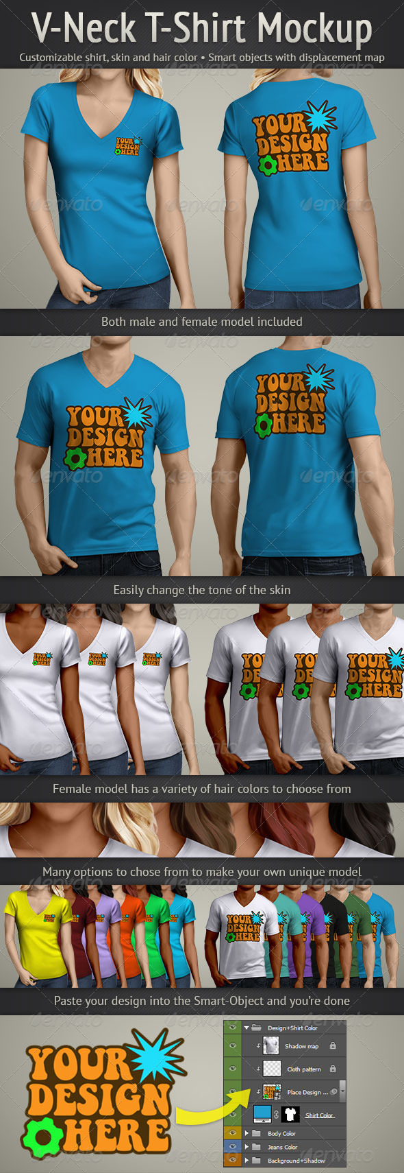 GraphicRiver V-Neck T-Shirt Mockup 5097092