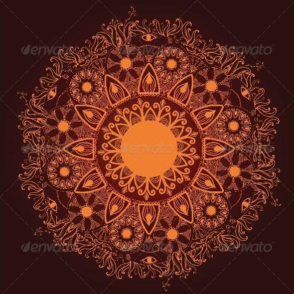 GraphicRiver Ornamental Round Lace Pattern Delicate Circle 4538011