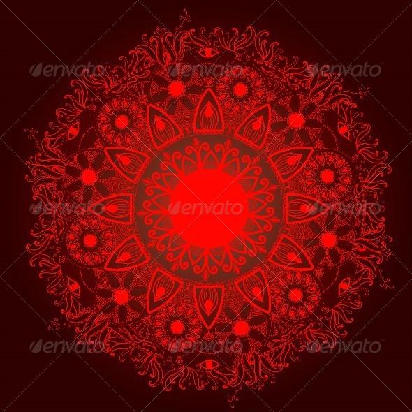 GraphicRiver Ornamental Round Lace Pattern.Delicate Circle 5098601