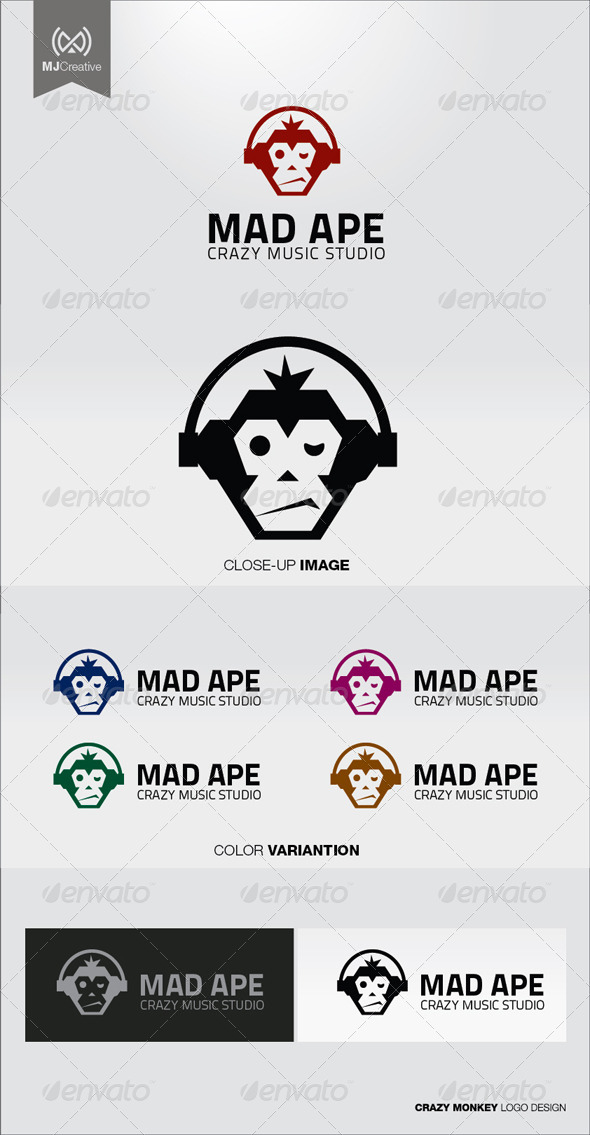GraphicRiver Crazy Monkey Logo 5080200