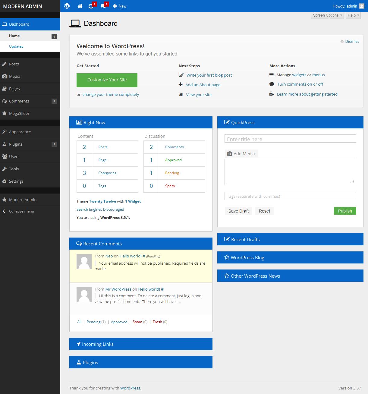 Modern Admin - Flat WordPress Admin Theme