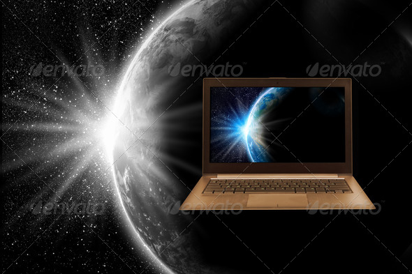 Notebook and globe - Stock Photo - Images
