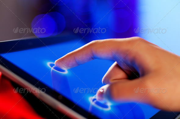 Finger touching screen - Stock Photo - Images