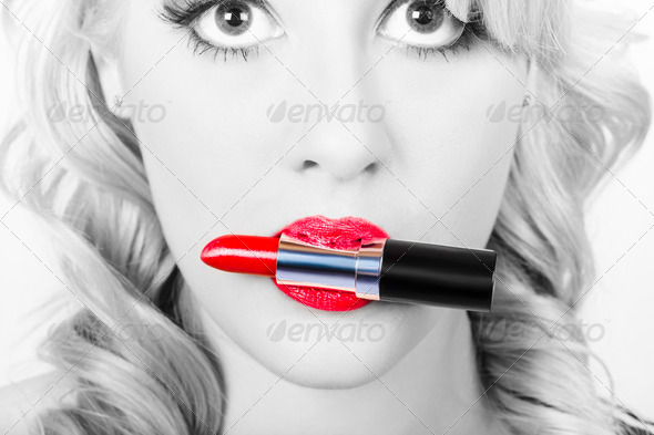 Make-up closeup. Cosmetic pinup girl in lip makeup - Stock Photo - Images