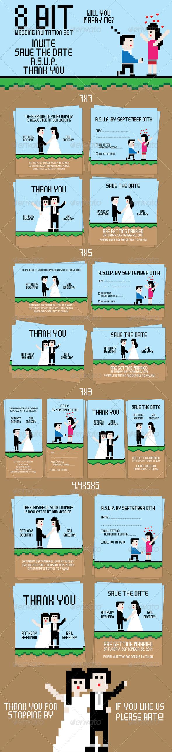 8 Bit Wedding Invitation Set