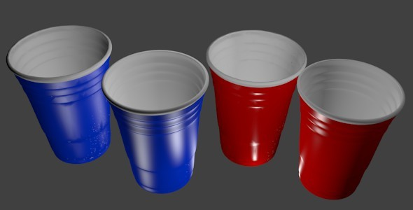3D Red and Blue Party Cups  - 3DOcean Item for Sale