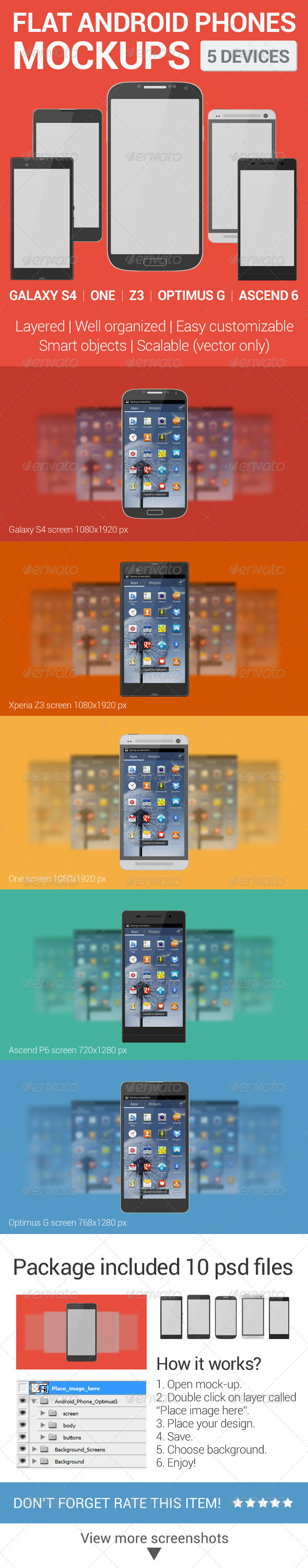 Android Phones Flat Mockups - Mobile Displays