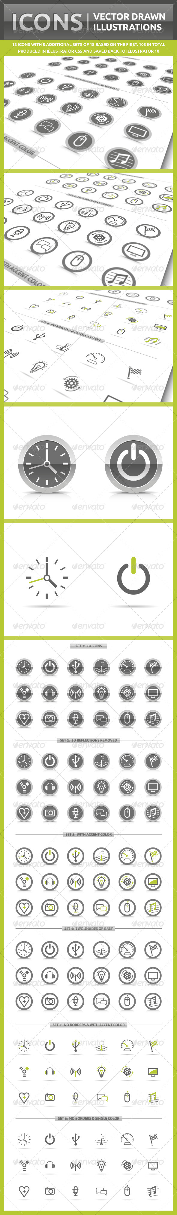 Icons Vector Drawn Illustrations