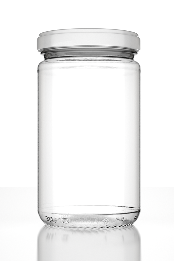 Photorealistic Empty Jar with Lid and Lab