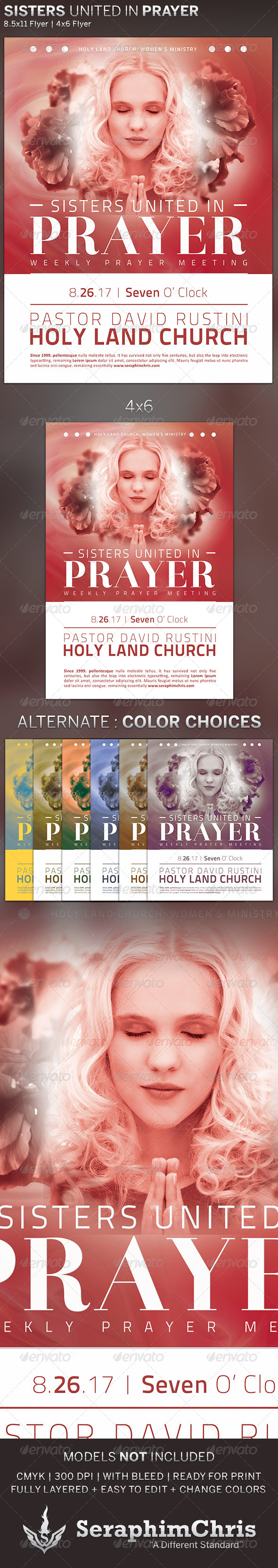 GraphicRiver Sisters United in Prayer Church Flyer Template 5102376