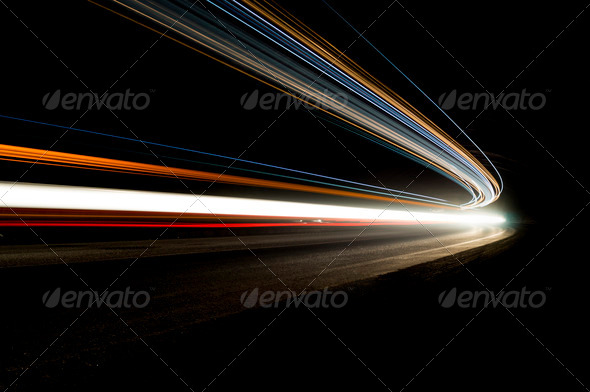 Beautiful abstract lights in a car tunnel in white, green, purpl - Stock Photo - Images