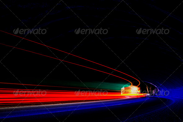 Abstract colorful lights in car tunnel that can be used as backg - Stock Photo - Images