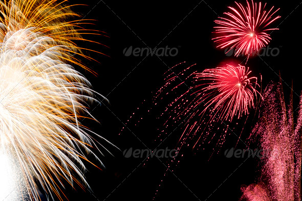 Long exposure fireworks and sparkles for New Year - Stock Photo - Images
