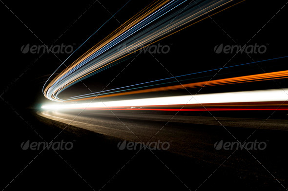Beautiful abstract lights in a car tunnel in white, green, purple - Stock Photo - Images