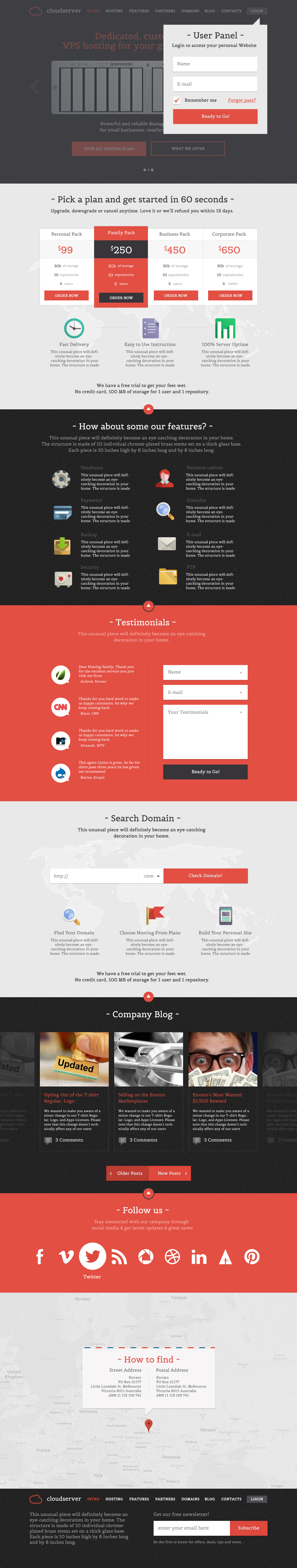 CloudServer - One Page Business / Hosting Template